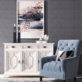 美式休闲沙发边柜组合3D模型【ID:928339659】