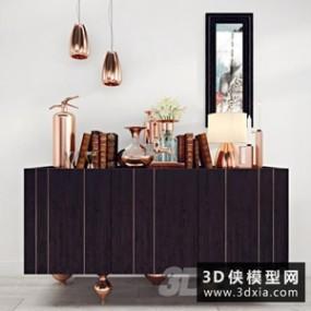 现代装饰柜装饰品组合国外3D模型【ID:829315066】
