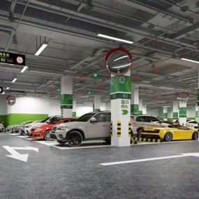 地下停车场3D模型【ID:528276974】