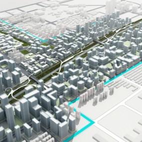 现代城市规划鸟瞰3D模型【ID:128397480】
