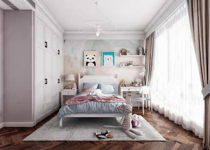 北欧女孩房 北欧儿童房 双人床 地毯 玩具 玩偶 娃娃 书桌 边柜 单人椅 衣柜 台灯 吊灯 装饰画 摆件