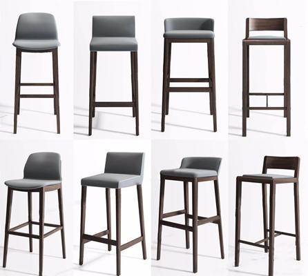 现代吧椅组合3D模型【ID:327924178】
