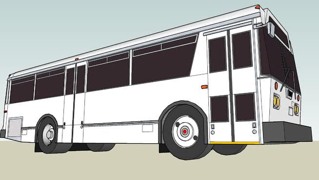 未涂漆的TMC城市巡洋舰T-3城市公交客车SU模型【ID:940208502】