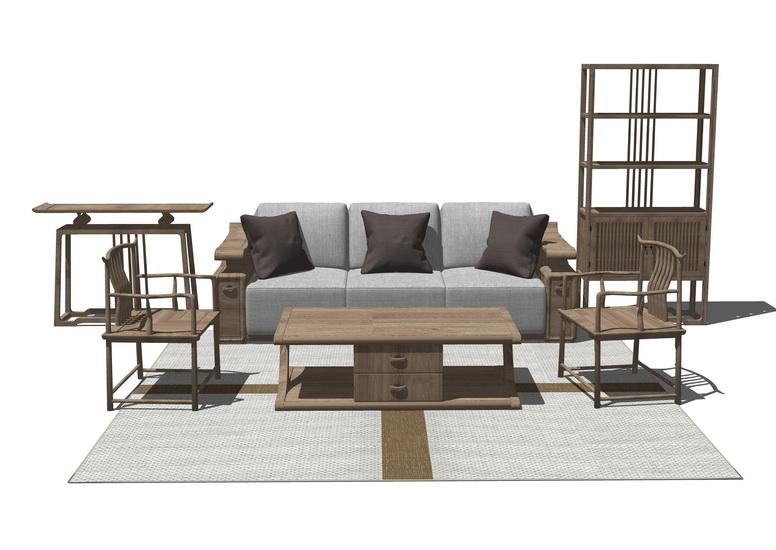 中式客厅沙发茶几置物架组合SU模型【ID:436790123】