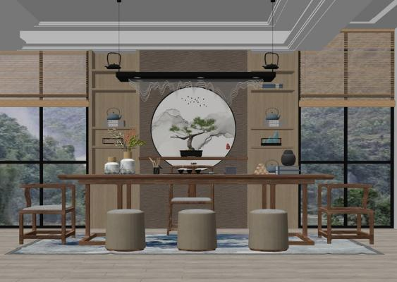 新中式茶室SU模型【ID:946381858】