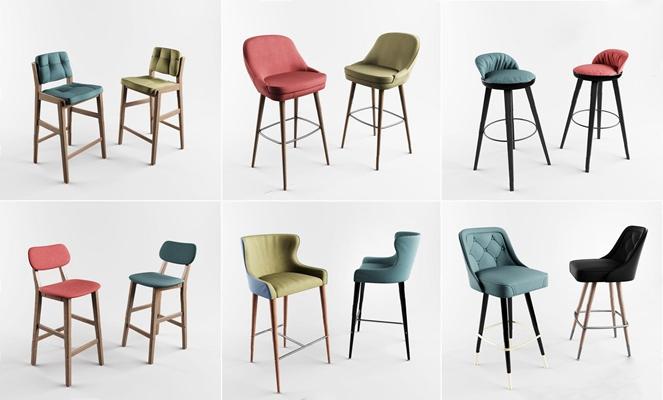 北欧木质吧椅组合3D模型【ID:327917118】