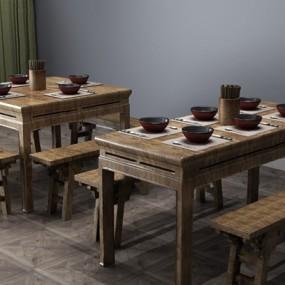 中式餐桌椅组合3D模型【ID:126232860】