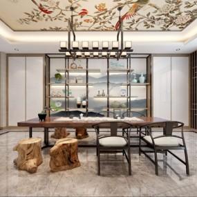 新中式茶室3D模型【ID:327934707】
