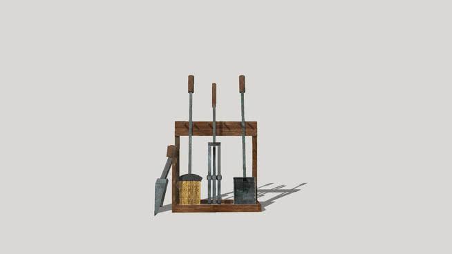 帶橡木架的鑄鐵壁爐工具。SU模型【ID:940209594】