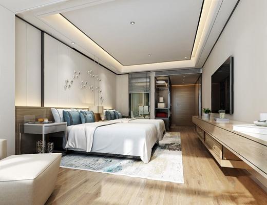 現代酒店雙人房3D模型【ID:427977688】