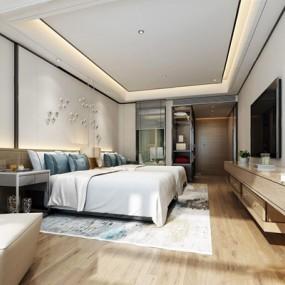 现代酒店双人房3D模型【ID:427977688】