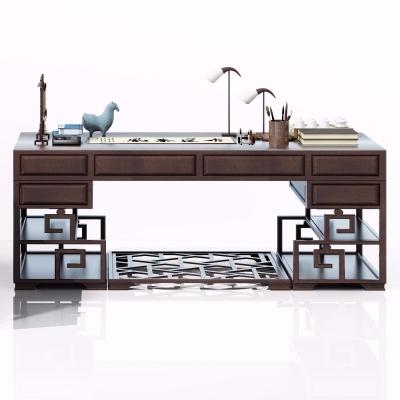 新中式实木书桌3D模型【ID:128408991】