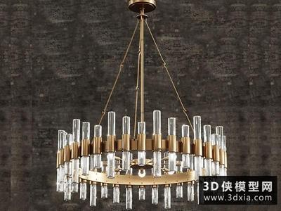 现代玻璃金属吊灯国外3D模型【ID:829344756】