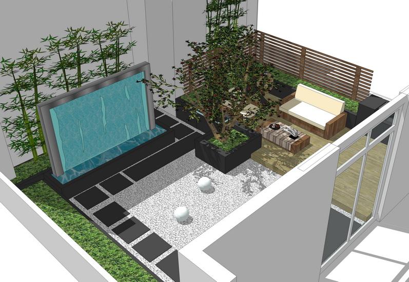 現代庭院景觀SU模型【ID:536793928】