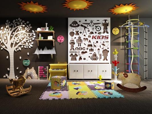 兒童家具卡木馬幼兒家具桌椅拼圖玩具組合3D模型【ID:728058035】