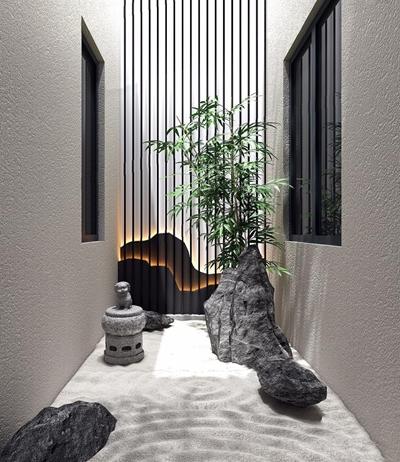 新中式別墅天井景觀小品3D模型【ID:828153499】