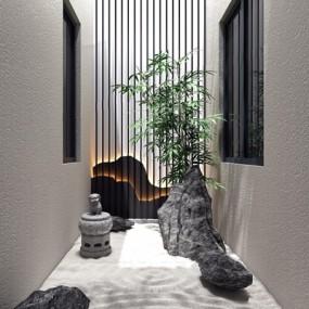 新中式别墅天井景观小品3D模型【ID:828153499】