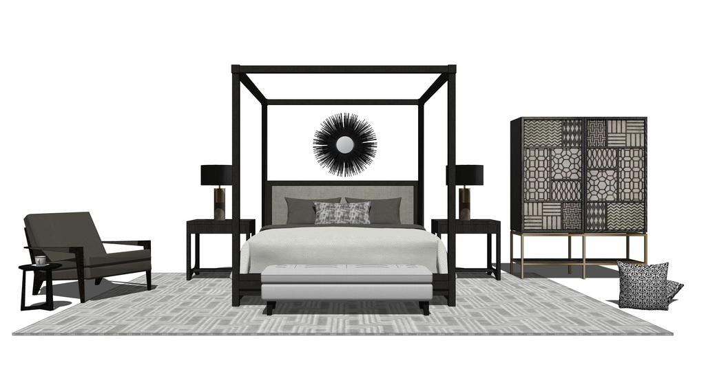 中式卧室家具组合SU模型【ID:736796839】