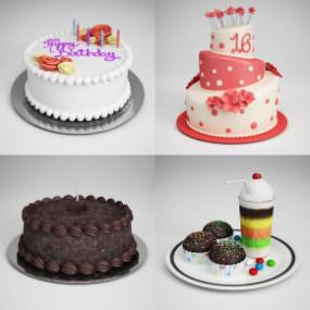 现代奶油翻糖蛋糕组合3D模型【ID:227780923】