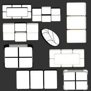 現代簡約創意吸頂燈組合3D模型【ID:627804093】