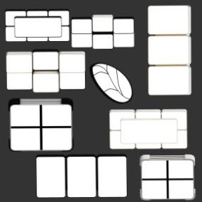 现代简约创意吸顶灯组合3D模型【ID:627804093】