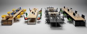 现代办公桌椅卡座摆件组合3D模型【ID:627805617】