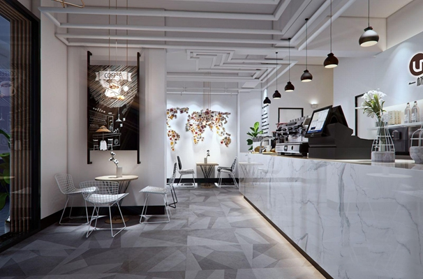 现代清新咖啡店3D模型【ID:328246612】
