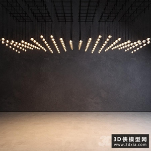 大廳玻璃吊燈國外3D模型【ID:829330748】
