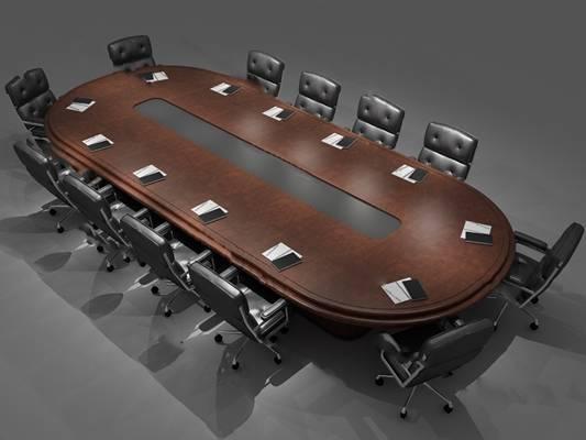 现代会议桌3D模型下载【ID:219459309】
