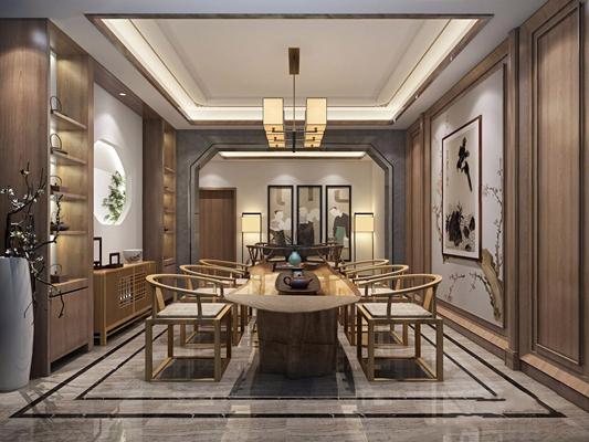 新中式茶室3D模型【ID:327926710】