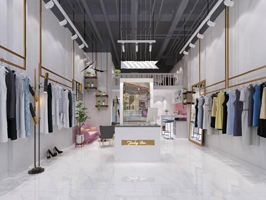 现代服装店3D模型【ID:124882357】