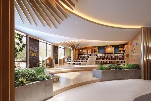 現代閱讀室圖書室3D模型【ID:828215295】