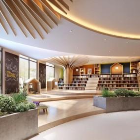 现代阅读室图书室3D模型【ID:828215295】