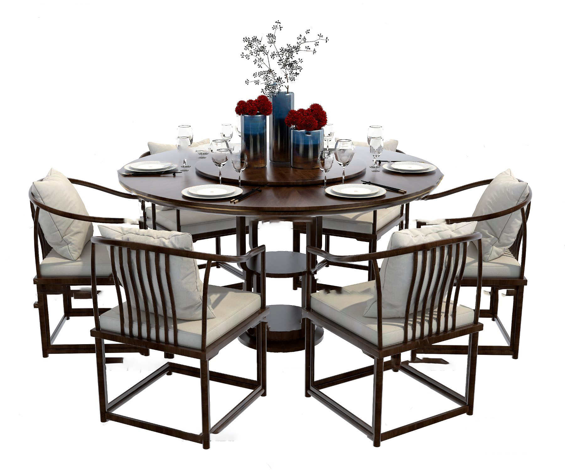 新中式实木圆形餐桌椅3D模型【ID:842180845】