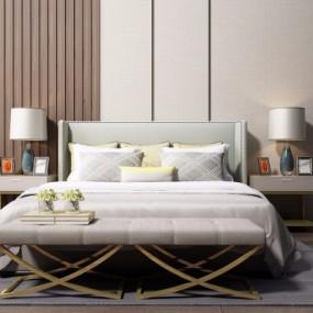 现代卧室双人床3D模型【ID:728471030】