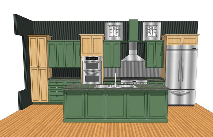 欧式厨房橱柜组合SU模型【ID:736802191】