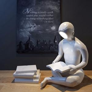 現代讀書人物雕塑3D模型【ID:520792639】
