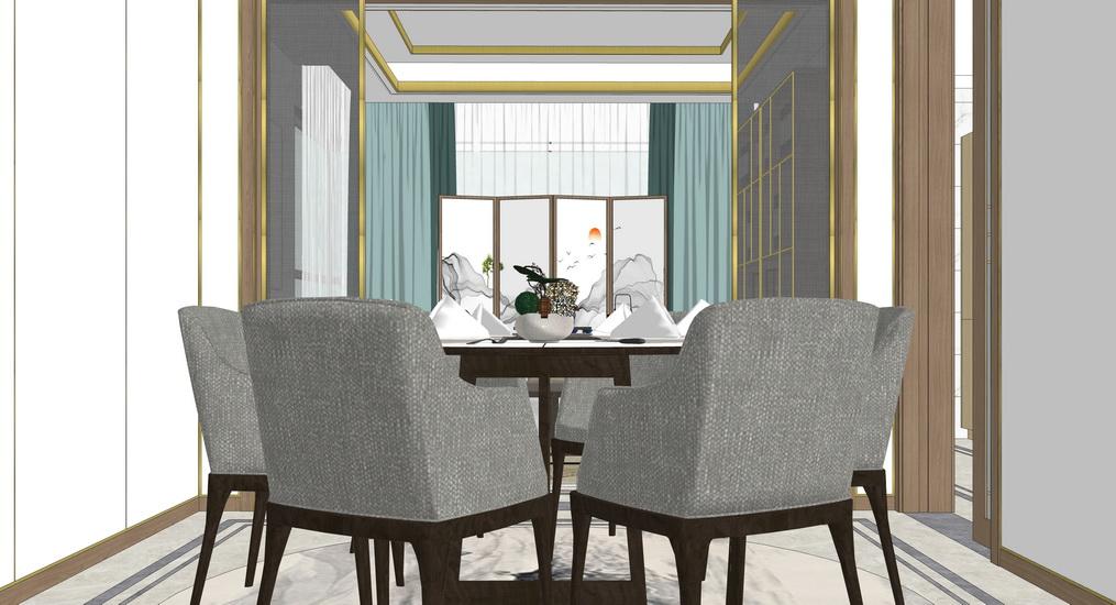 新中式三房兩廳室內設計SU模型【ID:536803379】