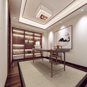 新中式书房3D模型【ID:528022637】