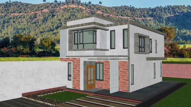 現代2層住宅4房SU模型【ID:140217342】