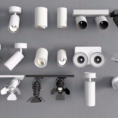 現代筒燈射燈組合3D模型【ID:627806641】