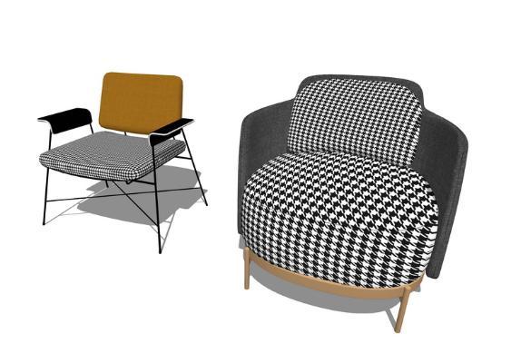 北歐椅子組合SU模型【ID:948605489】