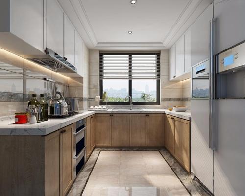 现代厨房3D模型【ID:528018009】
