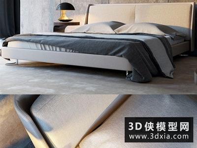 現代風格床國外3D模型【ID:729469963】