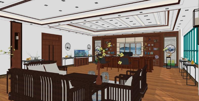 新中式董事长办公室SU模型【ID:346383215】
