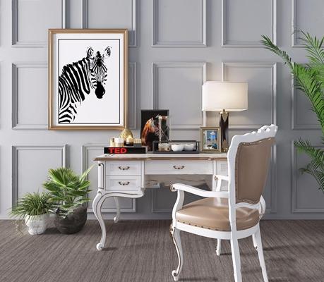 欧式书桌椅组合3D模型【ID:328247701】