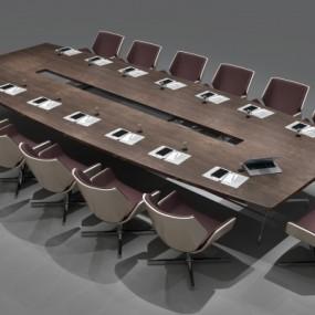 现代实木大型会议桌3D模型【ID:228425306】