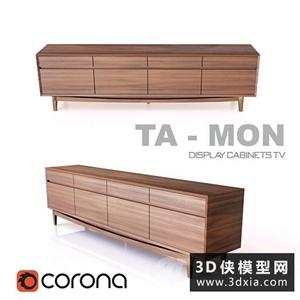 现代木质电视柜国外3D模型【ID:829324051】