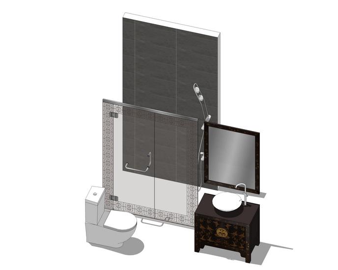 中式卫生间家具组合SU模型【ID:636808930】
