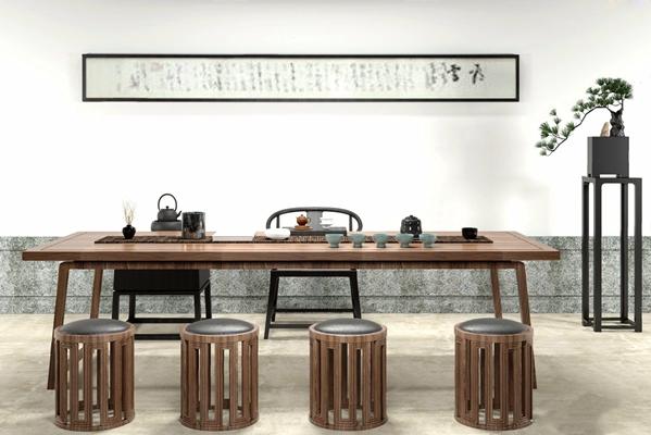 新中式书桌椅组合3D模型【ID:327917733】